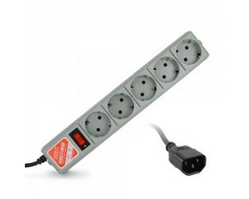 PowerCube Фильтр B, 1.95м, 5 евророзеток (SPG-B-6/EXT), серый