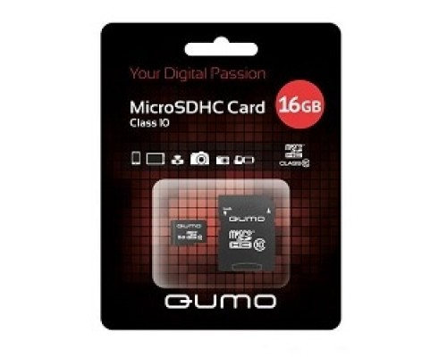 Micro SecureDigital 16Gb QUMO QM16GMICSDHC10U1 MicroSDHC Class 10 UHS-I, SD adapter