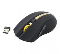 Oklick 495MW черный/золотистый Мышь оптическая (1600dpi) беспроводная USB (6but) 998168