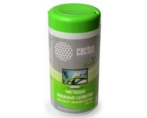 CACTUS Салфетки CS-T1001E для экранов и оптики туба 100шт влажных