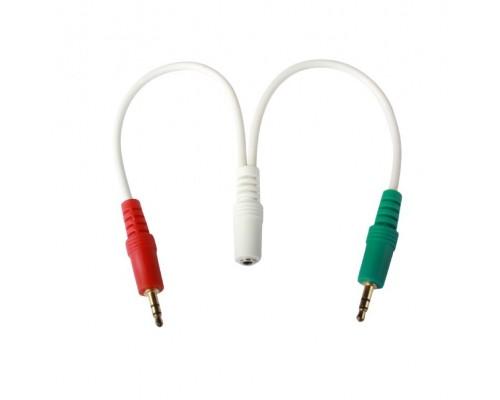 аудио сигнала Cablexpert, джек3.5 нушники + 3.5 микрофон-> джек3.5 4pin, длина 20см, белый (CCA-418W)
