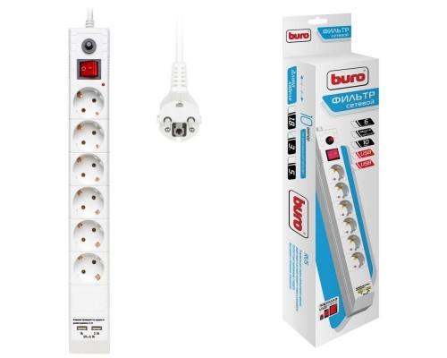 BURO Сетевой фильтр, 6 розеток, 3 метра, (BU-SP3_USB_2A-W), белый (коробка) 992311