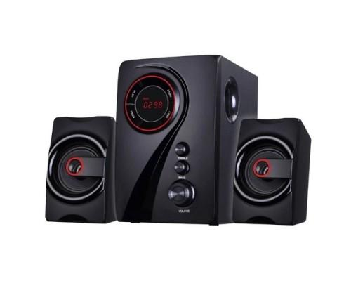 Ginzzu GM-406 2.1 с Bluetooth, выходная мощность 20Вт + 2х10Вт, аудиоплеер USB-flash, SD-card, FM-радио, пульт ДУ - 21 кнопка, стерео вход (2RCA), эквалайзер (обыч