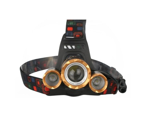 Ultraflash E1333 (фонарь налоб акк 3,7В, золото /черный, 3LED, 4 Ватт, фокус, 2 ак 4 реж, метал,