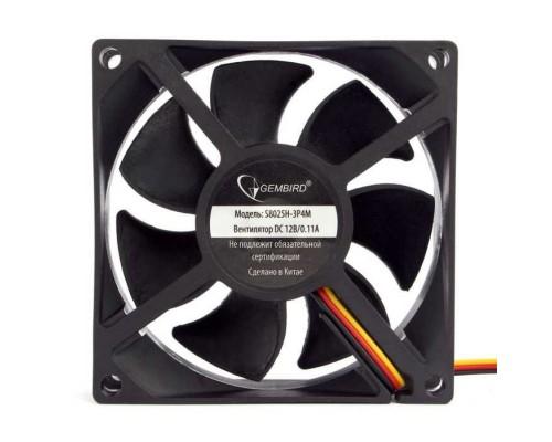 Gembird 80x80x25, гидрод., тихий, 3 pin/4pin Molex, провод 30 см (S8025H-3P4M)