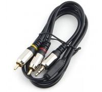 аудио Cablexpert CCAB-02-35M2RM-1MB. 3.5 джек(M)/2х RCA (M), черный, 1м, блистер