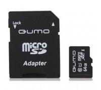 Micro SecureDigital 64Gb QUMO QM64GMICSDXC10U1 MicroSDXC Class 10 UHS-I, SD adapter