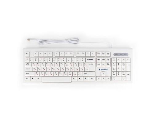 Gembird KB-8354U, USB, бежевый/белый, 104 клавиши, кабель 1,45м