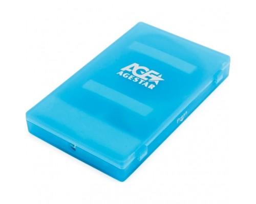 Внешний корпус 2.5 SATA HDD/SSD AgeStar SUBCP1 blue (USB2.0, пластик, безвинтовая конструкция) (SUBCP1 (BLUE))